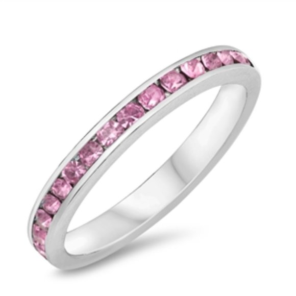 Sterling Silver Pink Crystals CZ Eternity Ring
